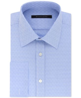 Men's Regular Fit Textured Solid French Cuff Dress Shirt