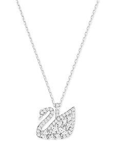 Swarovski Silver-Tone Pavé Swan Pendant Necklace