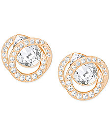 Swarovski Rose Gold-Tone Crystal Stud Earrings