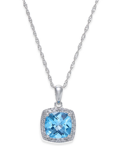 Blue Topaz (1-1/2 ct. t.w.) and Diamond (1/10 ct. t.w.) Pendant Necklace in 14k White Gold