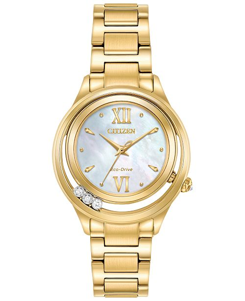 Citizen Eco-Drive Women's L - Sunrise Diamond Accent Gold-Tone Stainless Steel Bracelet Watch 32mm EM0512-58D