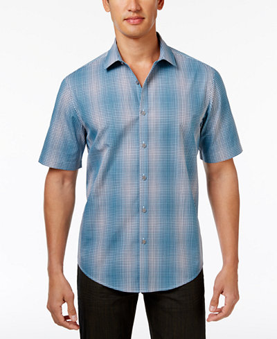 Alfani Men's Variant Grid-Pattern Shirt, Created for Macy's ...
