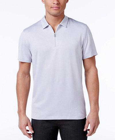 Alfani Men's Grid-Pattern Zip Polo, Created for Macy's