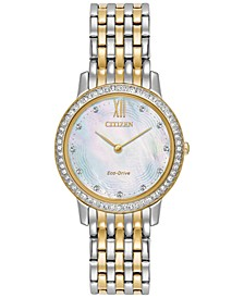 Eco-Drive Women's Silhouette Crystal Jewelry Two-Tone Stainless Steel Bracelet Watch 29mm EX1484-57D