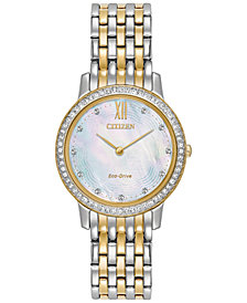 Citizen Eco-Drive Women's Silhouette Crystal Jewelry Two-Tone Stainless Steel Bracelet Watch 29mm EX1484-57D