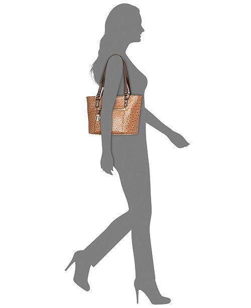 Giani Bernini Ostrich-Embossed Tote, Created for Macy s - Handbags ... ec7e6299f5