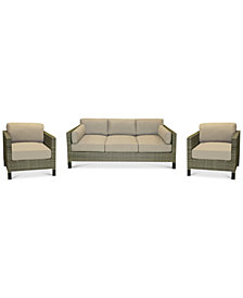 CLOSEOUT! North Port Wicker Outdoor 3-Pc. Seating Set (1 Sofa & 2 Club Chairs) with Sunbrella® Cushions, Created for Macy's