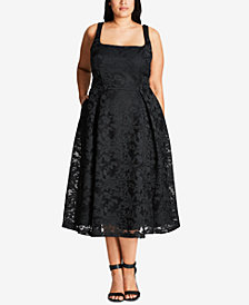 City Chic Trendy Plus Size Fit & Flare Midi Dress
