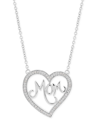 Diamond Mom Pendant Necklace (1/10 ct. t.w.) in Sterling Silver