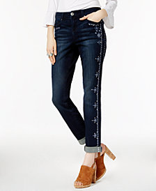 I.N.C. Petite Embroidered Indigo Wash Boyfriend Jeans, Created for Macy's