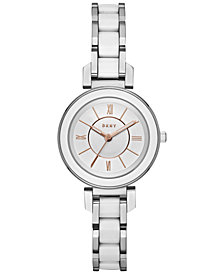 DKNY Women's Ellington Stainless Steel and White Ceramic Bracelet Watch 30mm, Created for Macy's