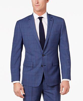 Ryan Seacrest Distinction™ Men's Slim-Fit Blue Herringbone Plaid ...