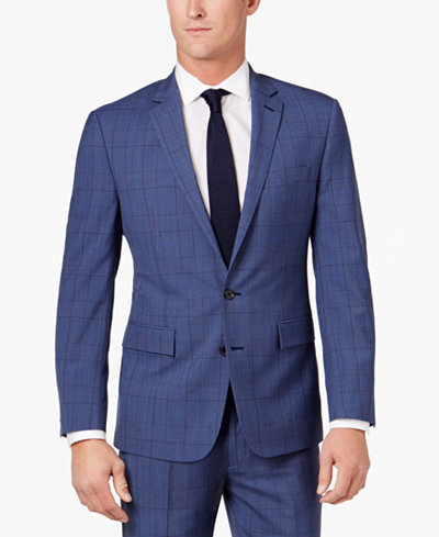 Ryan Seacrest Distinction™ Men's Slim-Fit Blue Herringbone Plaid ...