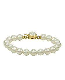 Pearl Bracelet, 18k Gold over Sterling Silver Organic Man Made Pearl