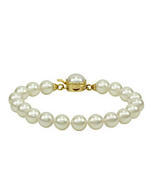 Majorica Pearl Bracelet 18k Gold Over Sterling Silver Organic Man Made