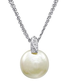 Majorica Pearl Necklace, Sterling Silver and Organic Man Made Pearl Pendant with Cubic Zirconia Accents