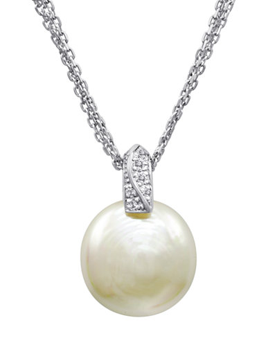 Majorica pearl necklace sterling silver and organic man made majorica pearl necklace sterling silver and organic man made pearl pendant with cubic zirconia accents mozeypictures Image collections