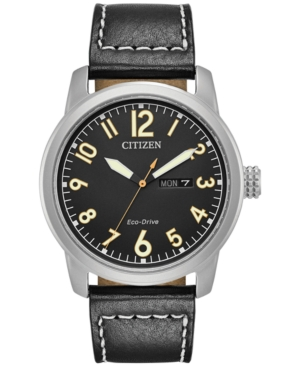 Citizen Men's Eco-Drive Military Black Leather Strap Watch