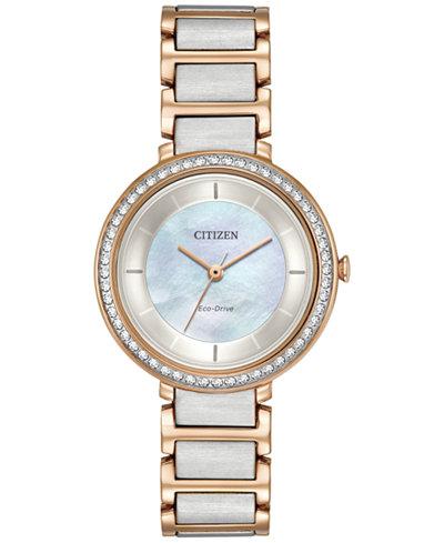 Citizen Eco-Drive Women's Silhouette Crystal Jewelry Two-Tone Stainless Steel Bracelet Watch 30mm EM0483-89D