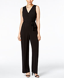 NY Collection Petite Surplice Belted Wide-Leg Jumpsuit