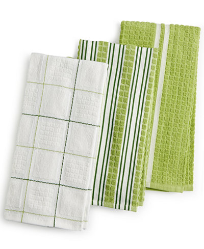 Martha Stewart Collection 3-Pc. Terry Cloth Kitchen Towels, Created ...