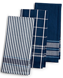 Martha Stewart Collection 3-Pc. Jacquard  Striped Cotton Kitchen Towels, Created for Macy's