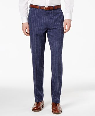Ryan Seacrest Distinction™ Men's Slim-Fit Blue Chalk Stripe Suit Pants, Only at Macy's