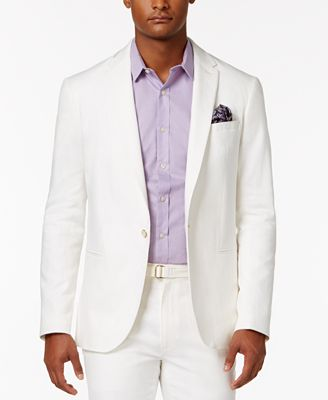 Sean John Men's Slim-Fit Cream Lightweight Linen Suit Jacket ...