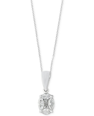 Classique by EFFY® Diamond Pendant Necklace (1/2 ct. t.w.) in 14k White Gold