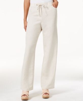 Image of JM Collection Linen-Blend Wide-Leg Pants, Only at Macy's