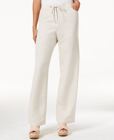 JM Collection Linen-Blend Wide-Leg Pants, Created for Macy's