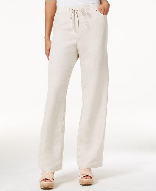 b037162cbaa ... JM Collection Petite Linen-Blend Drawstring Pants