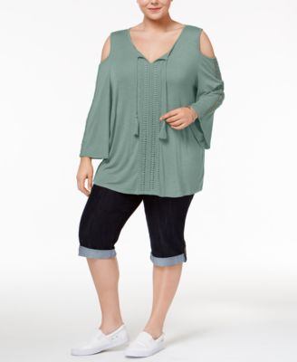 Style & Co Plus Size Cold-Shoulder Peasant Top, Only at Macy's