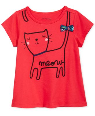 Image of First Impressions Kitty-Print Cotton T-Shirt, Baby Girls (0-24 Months), Created for Macy's