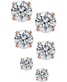 3-Pc. Cubic Zirconia Sterling Silver Stud Earrings in 18k Rose Gold-Plated, 18k Gold-Plated and Sterling Silver, Created for Macy's