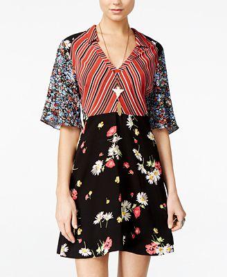 Free People Mixed-Print Mini A-Line Dress