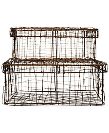 Wire Baskets with Lids, Set of 2