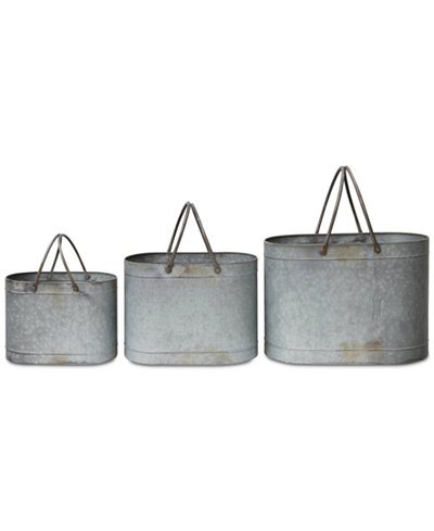 Tin Bucket Planters with Twin Handles, Set of 3