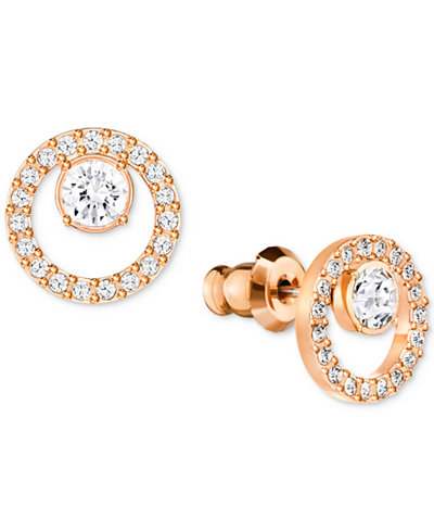 Swarovski Pavé Circle and Crystal Stud Earrings