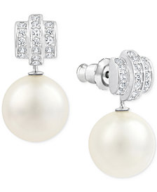 Swarovski Silver-Tone Crystal and Imitation Pearl Drop Earrings