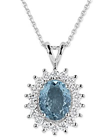 Aquamarine (2-1/2 ct. t.w.) and Diamond (3/4 ct. t.w.) Oval Pendant Necklace in 14k White Gold