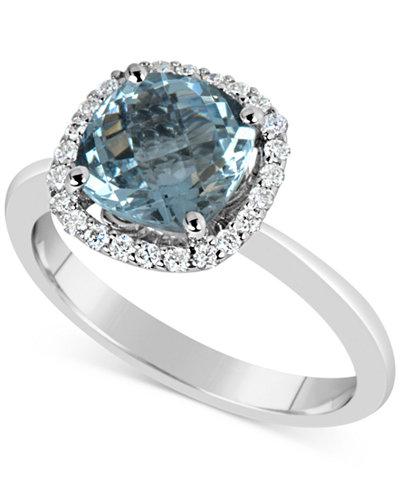 Aquamarine (2-1/4 ct. t.w.) and Diamond (1/5 ct. t.w.) Ring in 14k White Gold