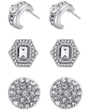 Say Yes to the Prom Silver-Tone 3-Pc. Set Crystal Earrings, a Macy's Exclusive Style