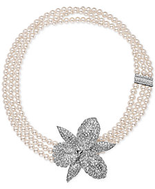 Nina Silver-Tone Pavé Orchid Imitation Pearl Triple Strand Necklace