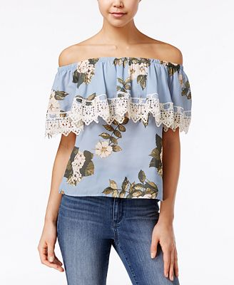 Say What? Juniors' Ruffled Off-The-Shoulder Top