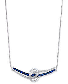 Sapphire (1-3/4 ct. t.w.) and Diamond (1/4 ct. t.w.) Necklace in 14k White Gold