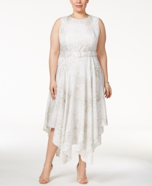 Plus Size Retro Dresses Calvin Klein Plus Size Belted Handkerchief-Hem Dress $139.50 AT vintagedancer.com