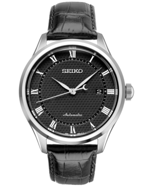Seiko Men's Dress Automatic Black Leather Strap Watch 42mm S