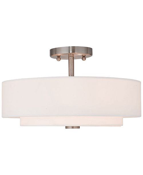Livex Claremont 15'' Brushed Nickel Semi-Flush Mount