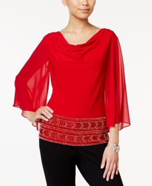 1930s Style Tops, Blouses & Sweaters Msk Beaded Cowl-Neck Blouse $69.00 AT vintagedancer.com